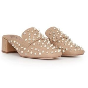 NEW Sam Edelman Augustus nude studded mules size 7